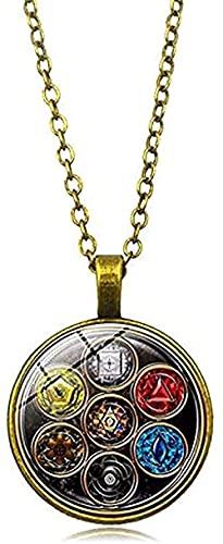 ZGYFJCH Co.,ltd Collar 4 Colores Collar con dijes Yoga Siete Chakras Collar de Equilibrio curativo cúpula de Cristal de Moda geometría Santa joyería de Mujer