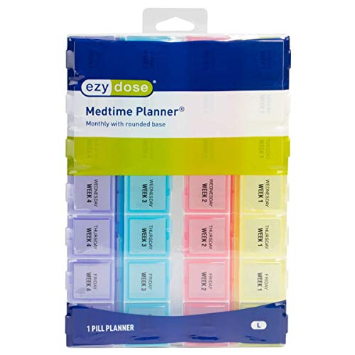 Ezy Dose Medtime (28-Day) Pill, Medicine, Vitamin Organizer Box | Monthly, Daily Planner | Large Compartments | Colored Lids