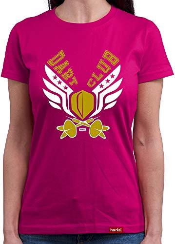 HARIZ T-shirt à col rond pour femme Dart Club Dart fléchettes WM Plus Cartes cadeau - Violet - Small