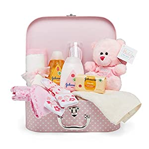 crib bedding and baby bedding baby gift set – keepsake box in pink with baby clothes, teddy bear and gifts for a baby girl