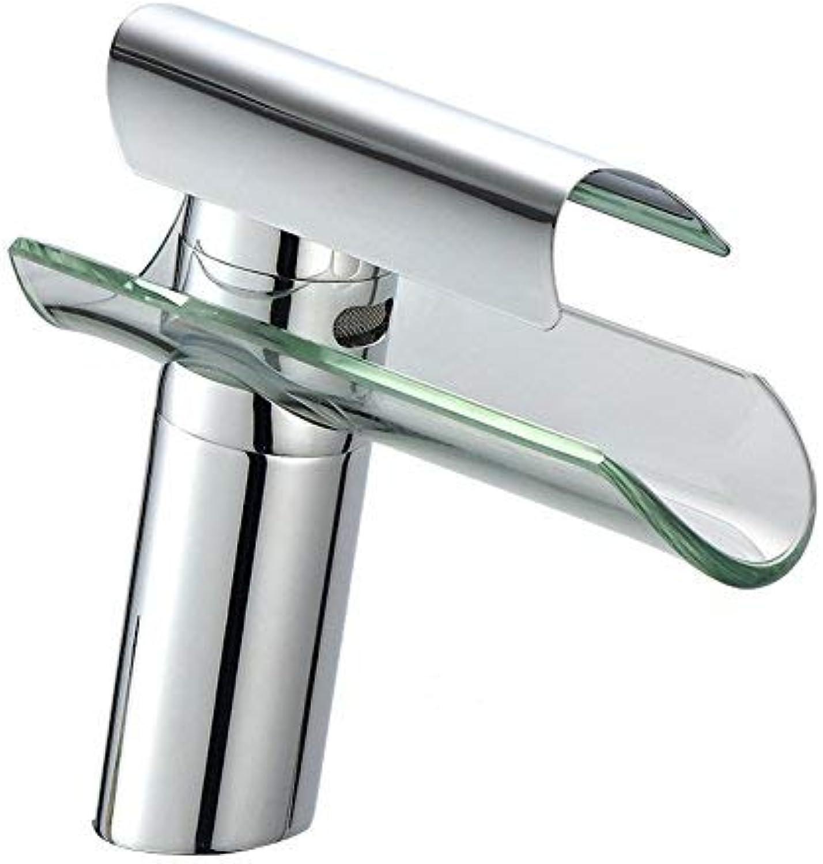 ZHAS Mischbatterie Glas Wasserfall Wasserhahn Becken heien und kalten Wasserhahn Edelstahl Wasserfall Wasserhahn