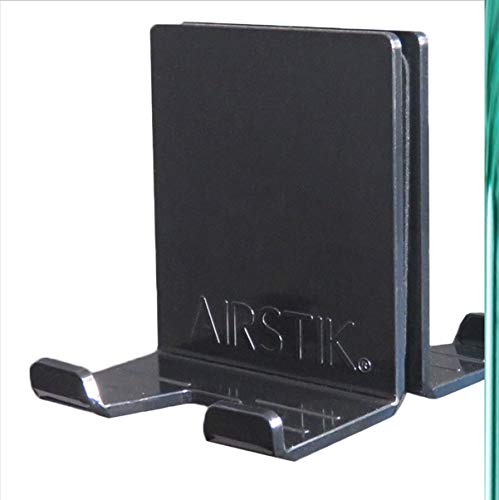 AIRSTIK Cradle for Any Phone Tablet Pad Holder Selfie Caddy Mount Shelf Bathroom Shower Glass Mirror Window Universal Reusable Waterproof Compatible with Any iPhone iPad TikTok Made in USA (Black)