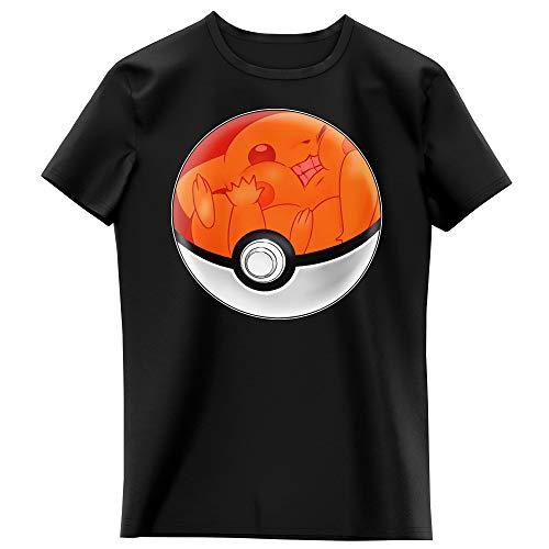 Okiwoki T-Shirt Enfant Fille Noir Parodie Pokémon - La Poké Ball de Pikachu - Pika Pas Cool ! (T-Shirt Enfant de qualité Premium de Taille 13-14 Ans - imprimé en France)