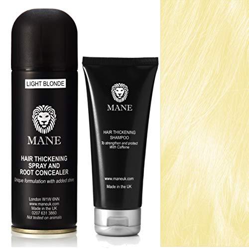Mane Hair Thickening Shampoo and Mane Hair Thickener/Root Concealer - 200 ml Light Blonde