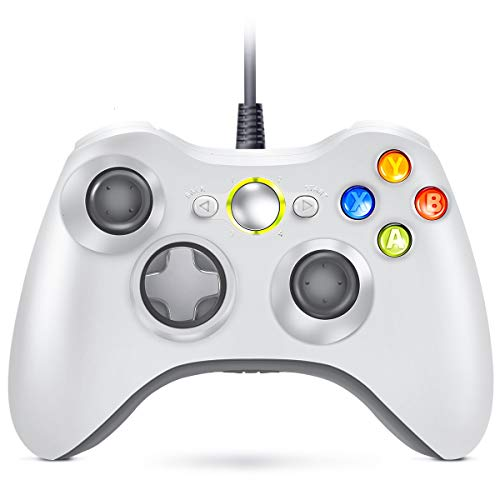 VOYEE Controller Replacement for Xbox 360 Controller, Wired Controller with Upgraded Joystick Compatible with Microsoft Xbox 360 & Slim/PC Windows 10/8/7 (White)