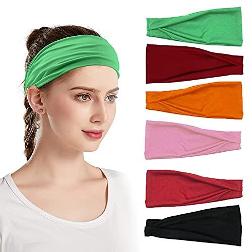 Sunny Smile Sport - 6 Diademas Transpirables para Yoga, Cinta elástica Ancha de algodón, Antideslizante, Cinta Deportiva Antihumedad (Verde)