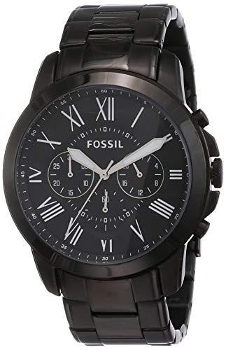 Fossil Men's Grant Quartz Stainless Steel Chronograph Watch, Color: Black (Model: FS4832)