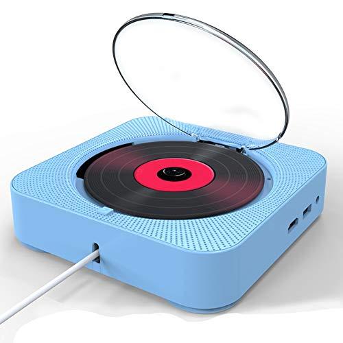 Reproductor DVD CD portátil Bluetooth con Cubierta,Mini CD Reproductor con FM Radio Boombox Audio Hogar,Montaje en Pared,Boombox,Incorporado Altavoz HiFi,Reproductor de música USB MP3 (Azul)
