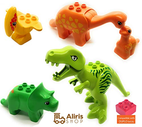 Aliris Jurassic World - 5 Dinosaurs - Dino Zoo Park T-Rex Set for Toddler - Compatible with Leading Brand Building Bricks