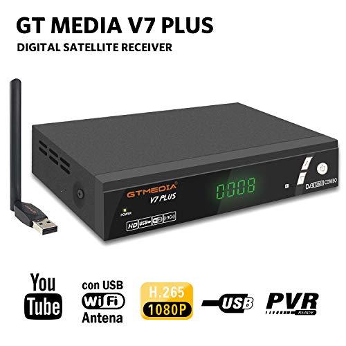GT Media V7 Plus DVB-S2 DVB-T2 Decodificador Satélite TDT Receptor TV Digital Terrestre con Antena USB WiFi FTA 1080P Full HD H.265 AVS+ Soporte PVR, Cccam, Newcam, Youtube, PowerVu, Dre y Biss Clave