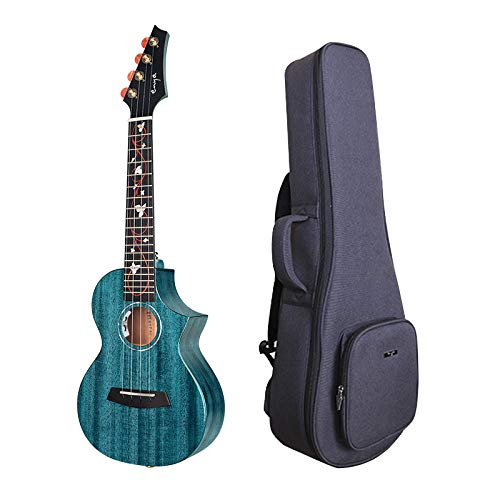 Enya 26Inch Tenor Cutaway Ukulele Akustische elektrische Ukulele EQ blau mit AAA massivem Mahagoni Holz Ukulele 20mm gepolsterte Ukulele Tasche