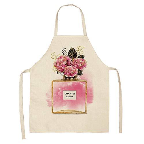 ZHANGXIANG Delantal Mujer Cocina Lápiz Labial Perfume Serie Delantal De Algodón Y Lino para Padres E Hijos-Slw-000201_47 * 38Cm (Niños)