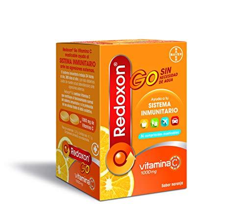 REDOXON GO Vitamina C, Complejo Vitamínico para las Defensas, Sabor Naranja, 30 Comprimidos Masticables (8470001801869)