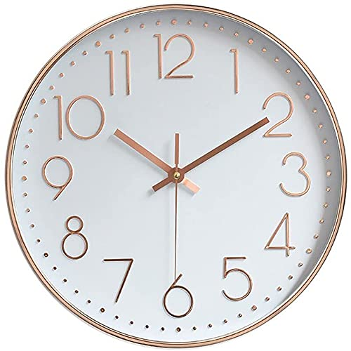 YIWOYI Reloj de pared de cuarzo para exteriores de 30,48 cm, silencioso, no hace tictac, para interior, moderno, decorativo, oro rosa