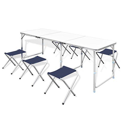 vidaXL Table Pliante de Camping Hauteur Ajustable avec 6 Tabourets Jardin
