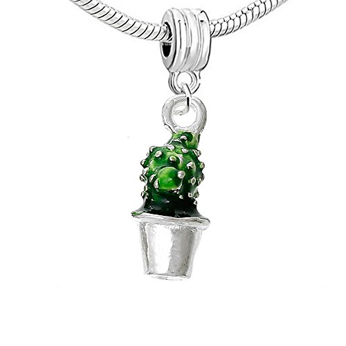 Sexy Sparkles 3D Cactus Pot Plant Charm Bead Compatible for Most European Snake...