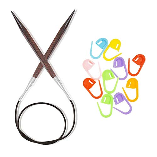 Knitter's Pride Knitting Needles Cubics Circular 40 inch (100cm) Size US 11 (8.0mm) Bundle with 10 Artsiga Crafts Stitch Markers 300261