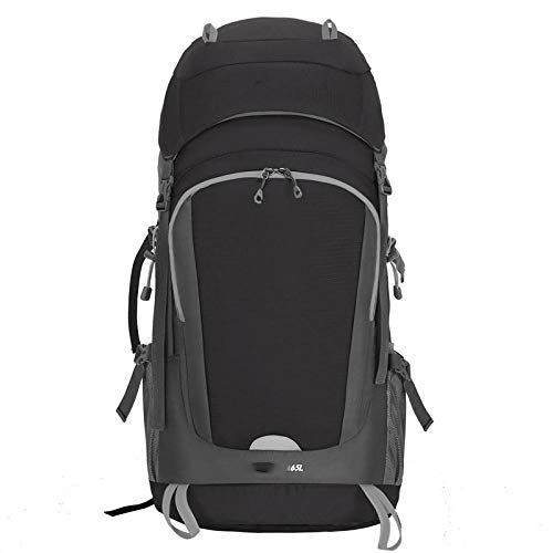 Topashe Ergonómica para Viajes Excursiones Acampadas Trekking,Bolsa de montañismo al Aire Libre, 55 + 10L Travel Bag-Black,Impermeable Mochila de Marcha Trekking