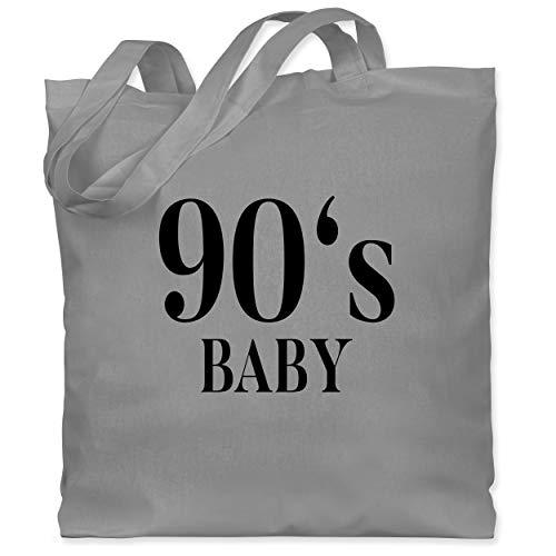 Shirtracer Karneval & Fasching - 90s Baby Schwarz - Unisize - Hellgrau - Verkleidung Kostüm - WM101 - Stoffbeutel aus Baumwolle Jutebeutel lange Henkel