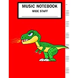 "Music Notebook Wide Staff: Blank Music Sheet Notebook,Staff Paper,Music Manuscript Paper,6 Staves,Large Staff,8.5""x11"",A4, 100 Pages,For Boys, Kids, Beginners, Splitfire Dinosaur."