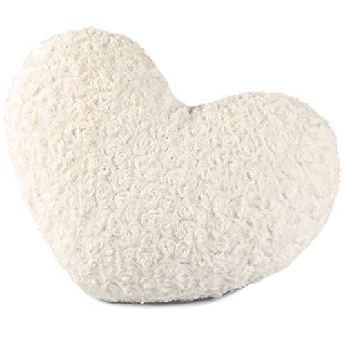 CelinaTex Rose Dekokissen Herz 40 x 25 cm weiß Plüsch Sofakissen Kuschelkissen Herzkissen