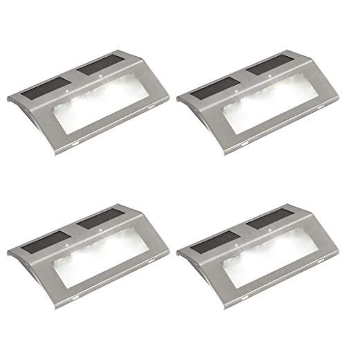 vidaXL 4x LED Solar Wandleuchte Edelstahl Solarleuchte Treppen Leuchte Lampe