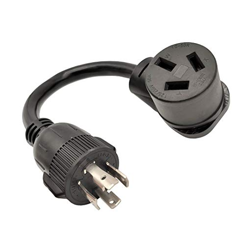 Parkworld 61810 - Cable adaptador para generador de 4 puntas L14-30P a 10-50R Receptáculo de estufa eléctrica, NEMA L14-30 macho a NEMA 10-50R estufa eléctrica, 30A 250V 7500W, 1 pie