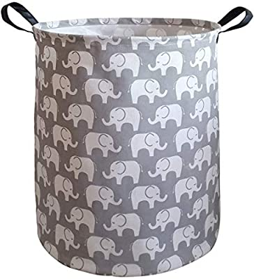 KUNRO Large Sized Storage Basket Waterproof Coating Organizer Bin Laundry Hamper for Nursery Clothes Toys (Elephant)