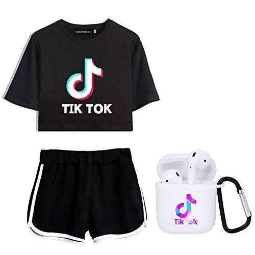 Lady Bug Damen Mädchen TIK-Tok T-Shirt + Shorts + AirPods Schutzhülle Anzug Casual Fashion Trainingsanzug Gr. S, Kaltweiß+Schwarz