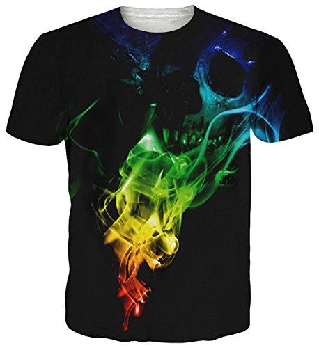 uideazone Herren Schädel Hipster Hemd mit kurzen Ärmeln Lässige Graphics Tees