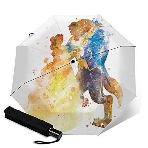 Taschenschirme Beauty Beast Automatischer, tragbarer dreifach faltbarer Regenschirm, kompakt und tragbar, faltbar, winddicht, wasserdicht, Anti-UV-Regenschirme