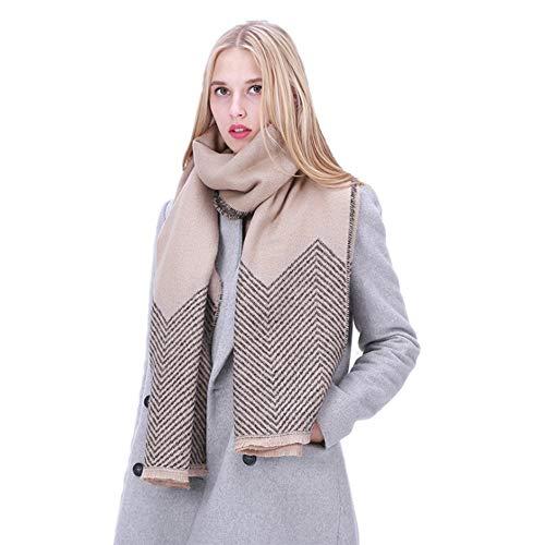 Y-WEIFENG Sciarpa Scialle Calda Bicolore Confortevole da Donna Autunno-Inverno Sciarpa (Colore : Marrone)