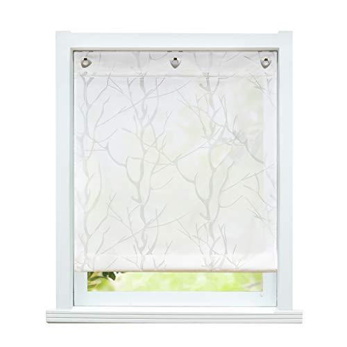 ESLIR Raffrollo mit U-Haken Gardinen Küche Raffgardinen Halbtransparent Ösenrollo Vorhänge Modern Ausbrenner Weiß #2 BxH 80x140cm 1 Stück
