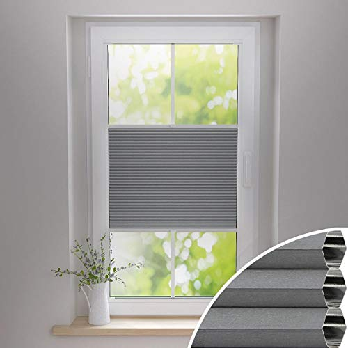 Gardinen21 Thermo Wabenplissee zum Kleben | Waben Plissee im Wunschmaß | Maßgefertigt für Türen & Fenster | Sonnenschutz, Sichtschutz, Schallschutz, 100% Verdunkelung