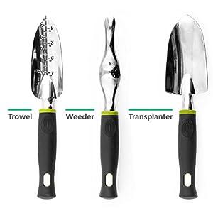 Vremi 9 Piece Garden Tools Set - Gardening Tools with Garden Gloves and Garden Tote - Gardening Gifts Tool Set with Garden Trowel Pruners and More - Vegetable Herb Garden Hand Tools with Storage Tote