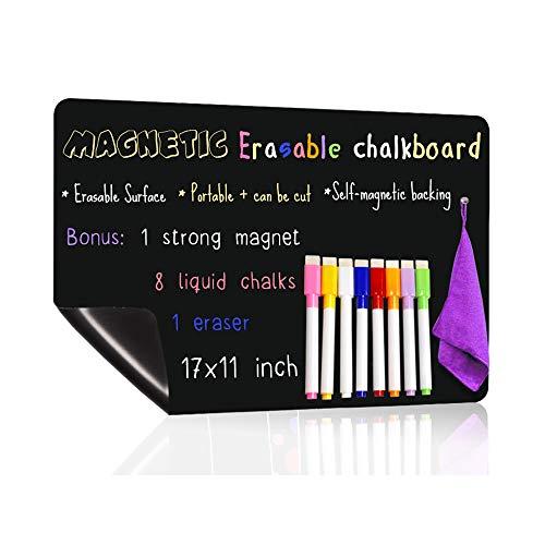 UCMD Magnetische Tafel für Kühlschrank mit 8 farbigen Kreidemarkern, trocken abwischbarer Tafelkalender (17x11 Zoll)