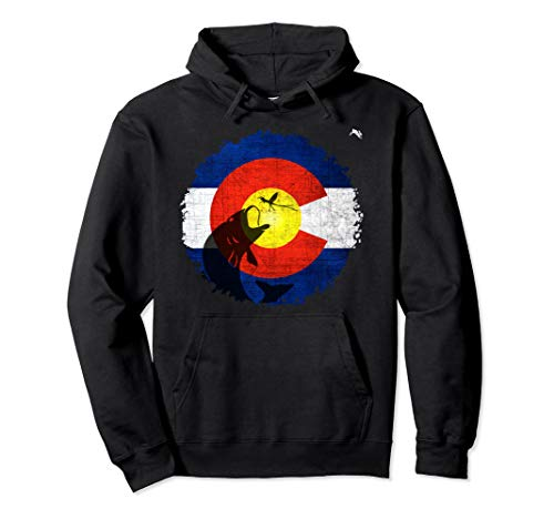 Colorado Flag Hoodie with Fly Fishing Design
