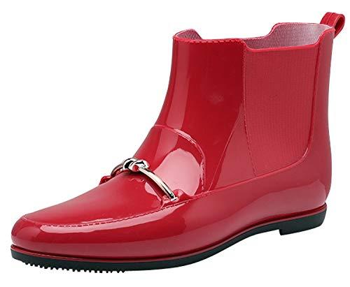レインブーツ ファッション ブーツ 防水 ミドル丈 ラバー 長靴 シンプル レインシューズ レッド(防寒) 25.5
