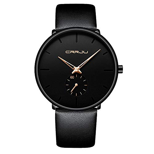 Mens Watches Ultra-Thin Minimalist Waterproof-Fashion Wrist Watch for Men Unisex Dress with Leather Band-Gold Hands