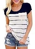 Flying Rabbit Damen Shirt Sommer Kurzarm Farbblock Streifen Tops Rundhals Bluse, Stil1-marine, XL