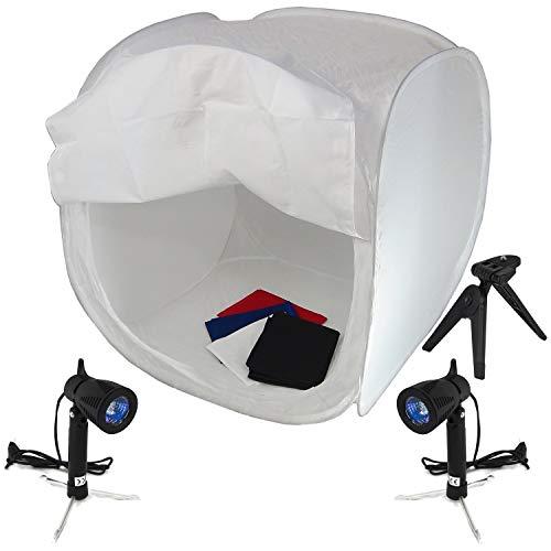 DynaSun PRO PB1 Opvouwbare Licht Cubelight Photo Studio Box Licht Kubus Tent met 4 achtergronden, 40cm + 2x LIGHT