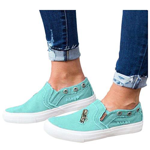 Billige Bequeme Sportschuhe für Damen/Dorical Frauen Canvas Sneaker, Low Übergrößen Flandell Top Basic Turnschuh Textil Schuhe/Schwarz, Blau, Beige, Pink 35-43 EU(Blau,38 EU)