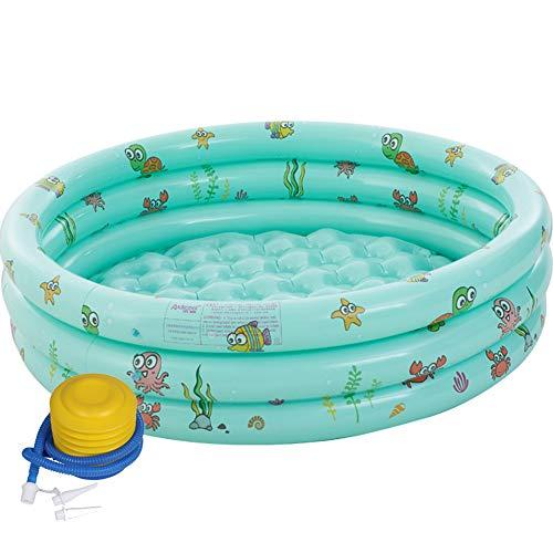 BEIAKE Familia Inflable Piscina con Bomba De Pie, De Tres Anillos Circulares Piscina Hinchable para Lactantes Y Niños Pequeños 150 * 40Cm,Verde