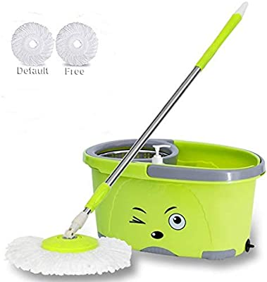HOLME'S 360° Easy Magic Bucket Steel Mop with 2 Micro Fiber Refills (Random Color)