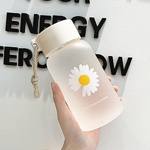 TJFGJ 500 ml pequeña Margarita Botellas de Agua plásticas Transparentes BPA Free Creative Frosted Water Botella con Taza de té de Viaje portátil (Capacity : 500ml, Color : Frosted 1 Flower)