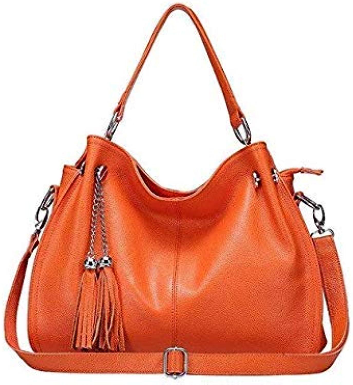 Fashion Winter Women Real Genuine Leather Casual Women Handbag Large Shoulder Bag Tassel Ladies Casual Tote satchels Purse Bolsa orange 38X14X28