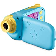 Agassi Kids Camera,Digital Camera for Girls or Boys,2.4Inch Rechargeable Children Shockproof Digital Camcorders Little Kid Toys Gift,1080P 8MP HD Kids Digital Video Camera (16G TF Card Included),Blue