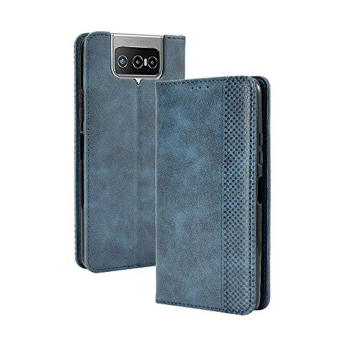HAOTIAN Leder Hülle für Asus Zenfone 7 ZS670KS Hülle, Premium PU/TPU Leder Folio Hülle Schutzhülle Handyhülle, Flip Hülle Klapphülle Lederhülle mit Standfunktion und Kartensteckplätzen, Blau