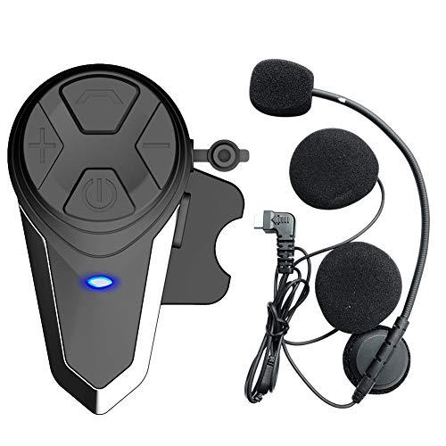 QSPORTPEAK Interfaz de Motocicleta Casco Auriculares Sistemas de comunicación en Tiempo Real BT-S3 1000m Manos Libres Radio FM Intercomunicador Bluetooth Impermeable para 2 o 3 pasajeros