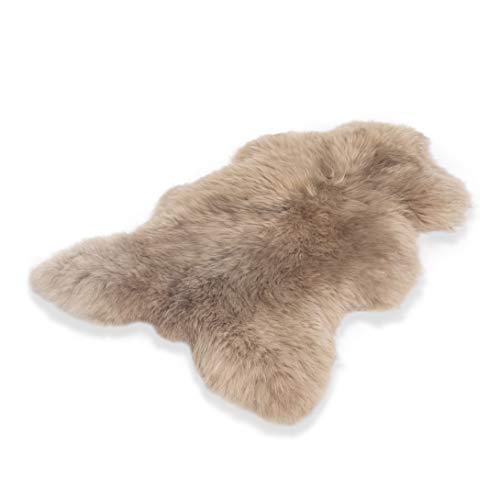 Schafshaut Store: 100% Schaffell/Lammfell. Weich und flauschig ideal für das Wohnzimmer, unter dem Kamin, Schlafzimmer. Eine originelle Ergänzung zu jedem Interieur. (Beige, XL: 110-120 cm)